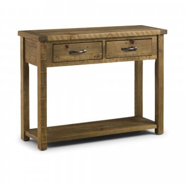 Aspen Rustic Pine 2 Drawer Console Table