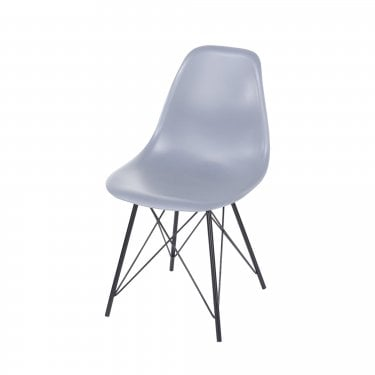 Aspen Truffle Plastic Occasional Chair Pair with Black Metal Legs
