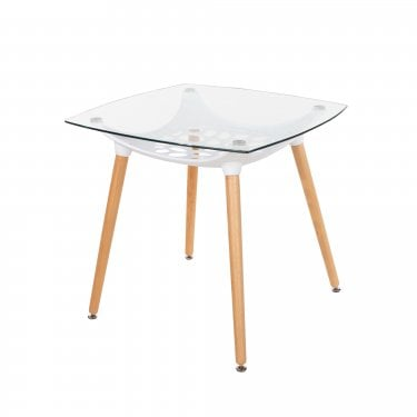 Aspen Two Tone Clear Glass Square Dining Table