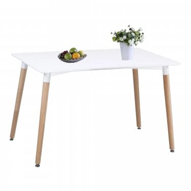 Aspen White MDF Rectangular Dining Table with Beech Legs