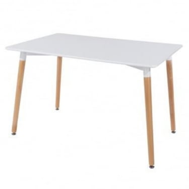 Aspen White MDF Rectangular Large Dining Table with Beech Legs
