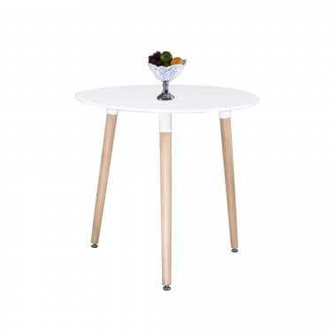 Aspen White MDF Round Dining Table with Beech Legs