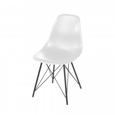 Aspen White Plastic Occasional Chair Pair with Black Metal Legs