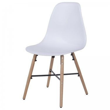 Aspen White Plastic Occasional Chair Pair with Metal Cross & Rubberwood Legs