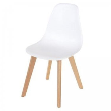 Aspen White Plastic Occasional Chair Pair with Rubberwood Legs