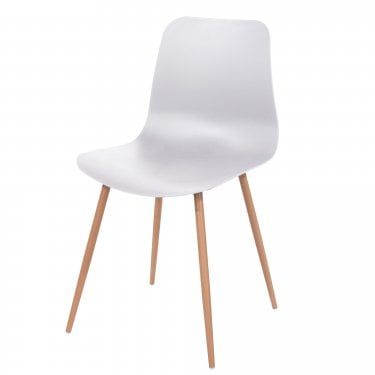 Aspen White Plastic Occasional Chair Pair with Wood Effect Metal Legs