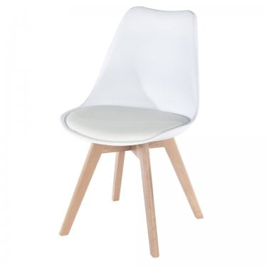 Aspen White Upholstered Plastic Occasional Chair Pair with Rubberwood Legs