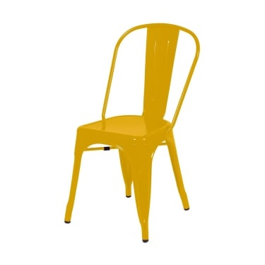 Aspen Yellow Metal Occasional Chair Pair with Metal Legs