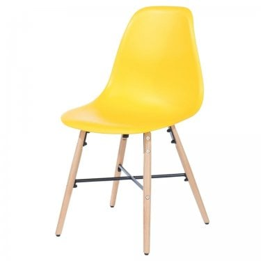Aspen Yellow Plastic Occasional Chair Pair with Metal Cross & Rubberwood Legs