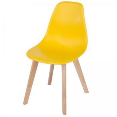 Aspen Yellow Plastic Occasional Chair Pair with Rubberwood Legs