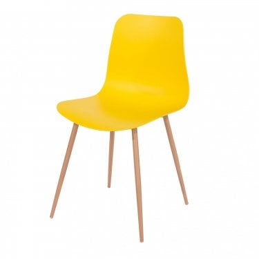 Aspen Yellow Plastic Occasional Chair Pair with Wood Effect Metal Legs