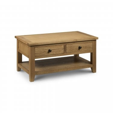 Astoria Waxed Oak 2 Drawer Coffee Table
