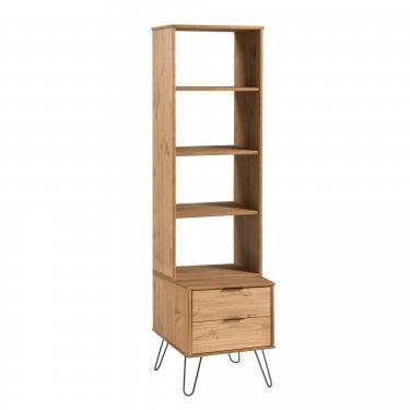 Augusta Narrow 2 Drawer Bookcase, Pine