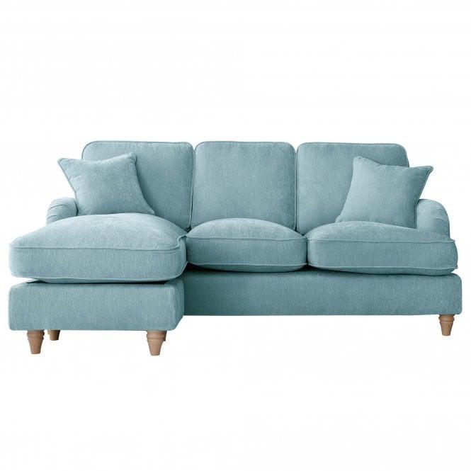 Aurora Left Handed Chaise Longue Sofa, Manhattan Lagoon Velvet