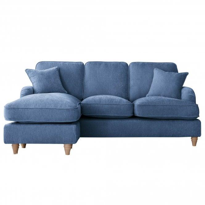 Aurora Left Handed Chaise Longue Sofa, Manhattan Navy Velvet