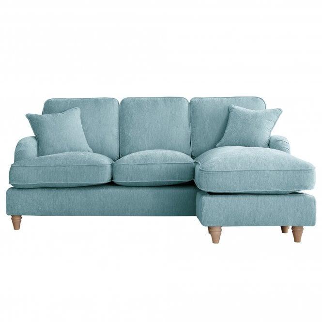 Aurora Right Handed Chaise Longue Sofa, Manhattan Lagoon Velvet