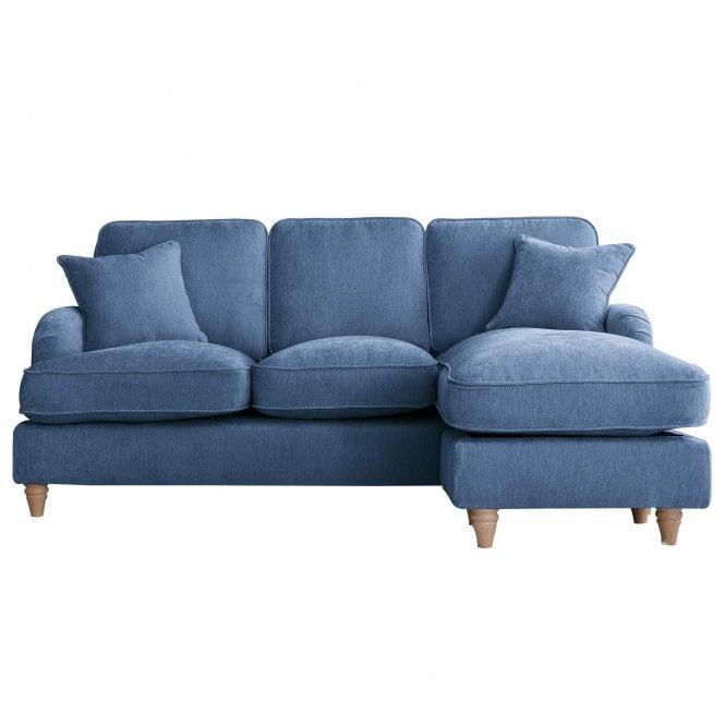 Aurora Right Handed Chaise Longue Sofa, Manhattan Navy Velvet