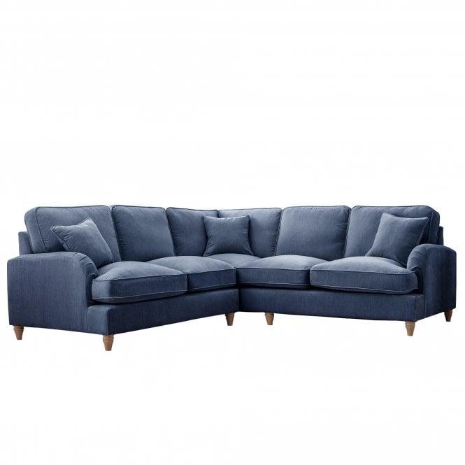 Aurora Wide Corner Sofa, Manhattan Navy Velvet