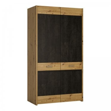 Aviles Artisan Oak & Dark Fresco Accents 2 Door Wardrobe (4350968)