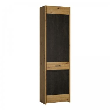 Aviles Tall Artisan Oak & Dark Fresco Accents Cupboard (4351068)