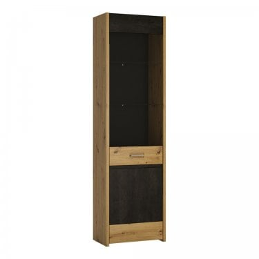 Aviles Tall Glazed Artisan Oak & Dark Fresco Accents Display Cabinet (4351468)