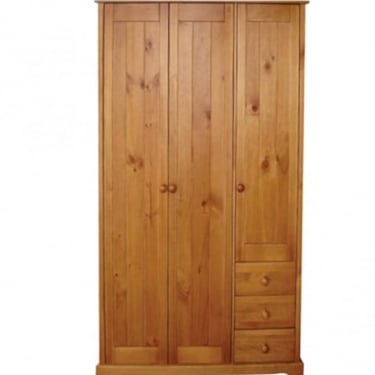 Baltic Antique Pine 3 Drawer 3 Door Wardrobe