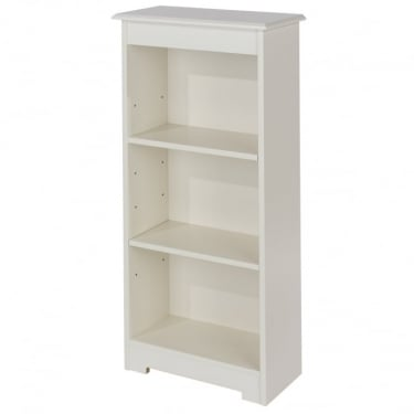 Banff Warm White MDF Low Narrow Bookcase with Adjustable Shelves