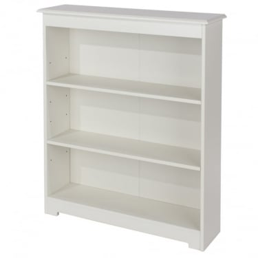 Banff Warm White MDF Low Wide Bookcase with Adjustable Shelves