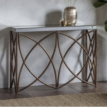 Beckfield Console Table, Metal & Glass