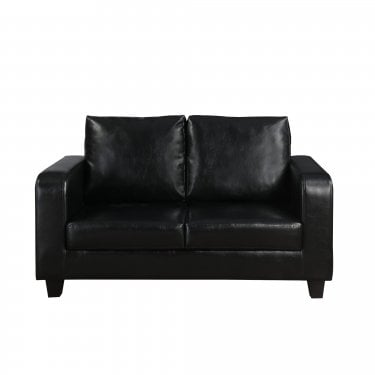 Black Faux Leather Sofa In A Box