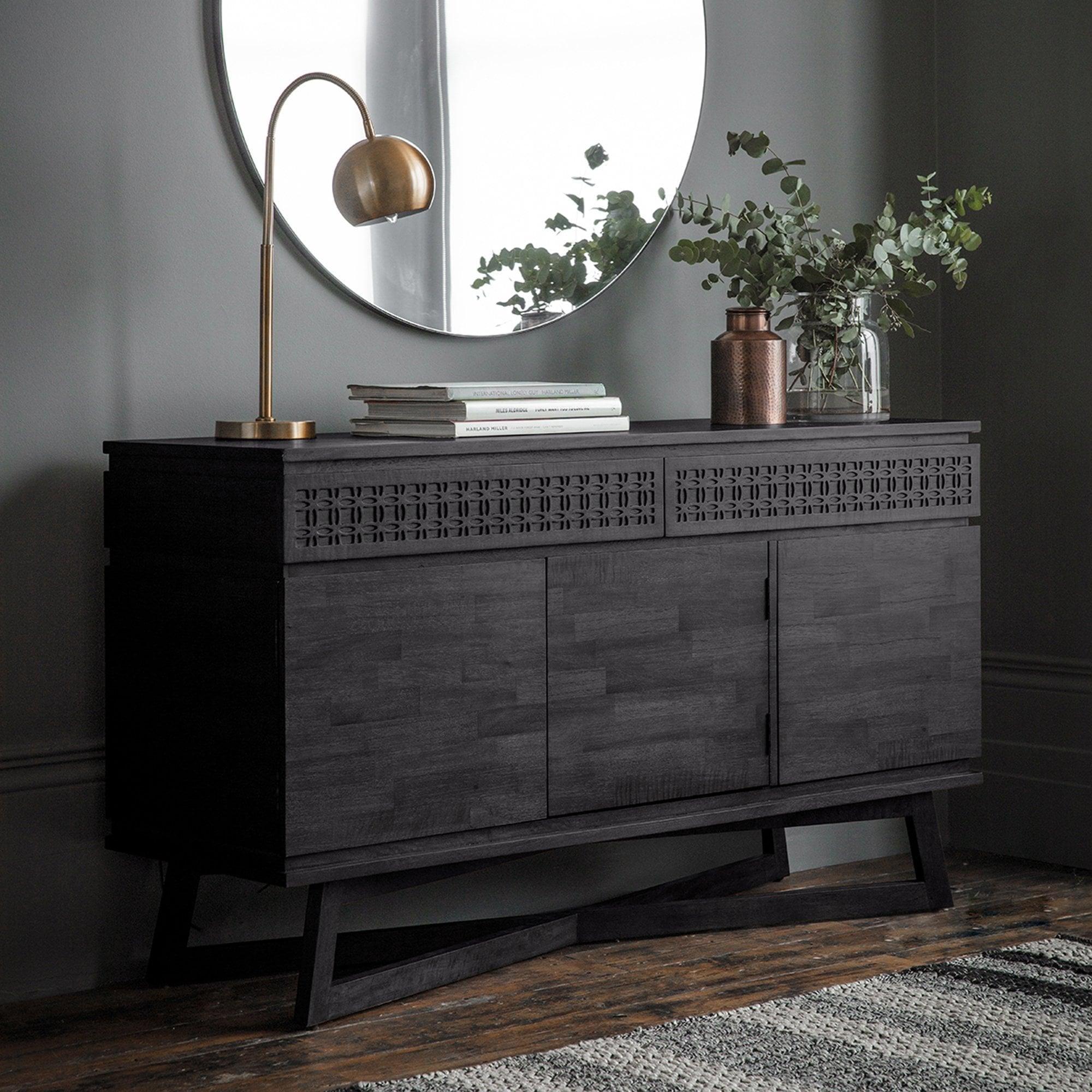 Gallery Direct Boho Boutique 3 Door 2 Drawer Sideboard Black Leader Furniture