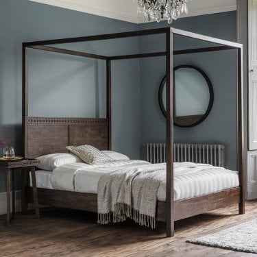 Boho Retreat Kingsize Four Poster Bed, Brown