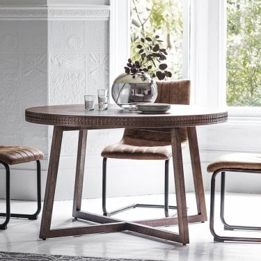 Boho Retreat Round Dining Table, Brown