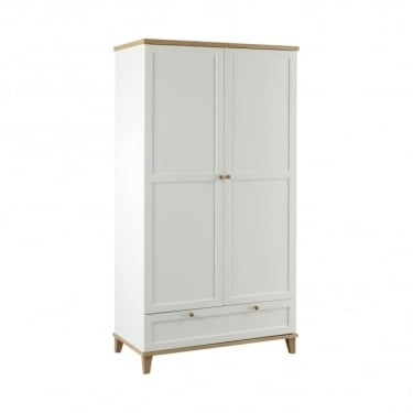 Boston White & Ash 1 Drawer 2 Door Wardrobe