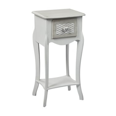 Brittany 1 Drawer Bedside Table, White