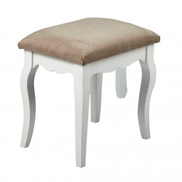 Brittany Bar Stool, White & Fabric