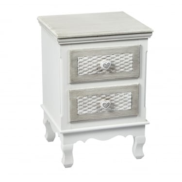 Brittany Hand Painted 2 Drawer Bedside Cabinet