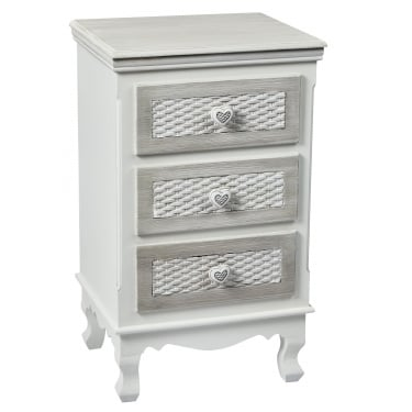Brittany Large 3 Drawer Bedside Cabinet, White
