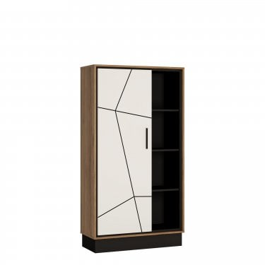 Brolo Walnut & Dark Panel Wide 1 Door Bookcase