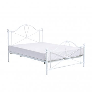 Bronte Double Metal Bed, Cream