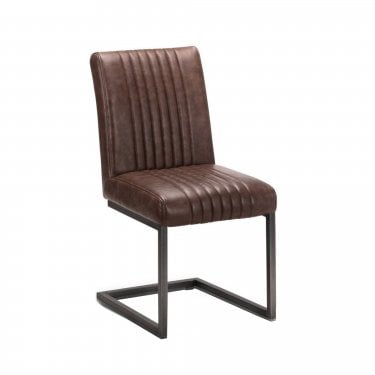 Brooklyn Dining Chair Set Of 2, Brown Faux Leather