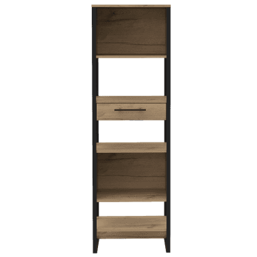 Brooklyn Tall & Narrow 1 Drawer Bookcase, Bleached Pine