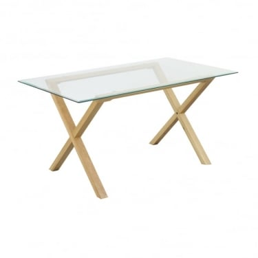 Cadiz Clear Glass & Solid Oak Dining Table