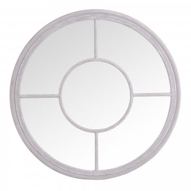Caesar Round Wall Mirror, Grey