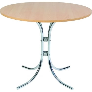 Cafe Beech Bistro Table with Chrome Frame