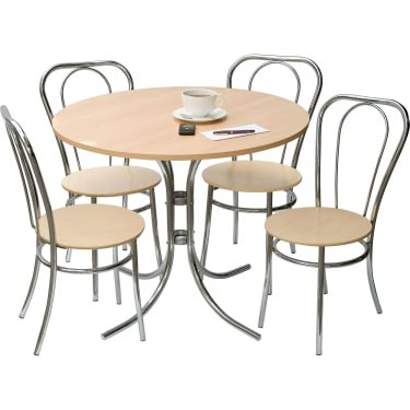 Cafe Beech Deluxe Bistro Set with Chrome Frame