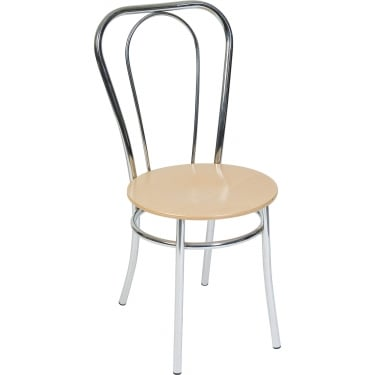 Cafe Light Wood Bistro Chair with Chrome Frame