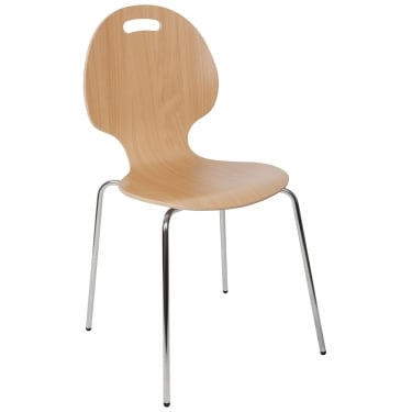 Cafe Light Wood Bistro Chair with Chrome Legs