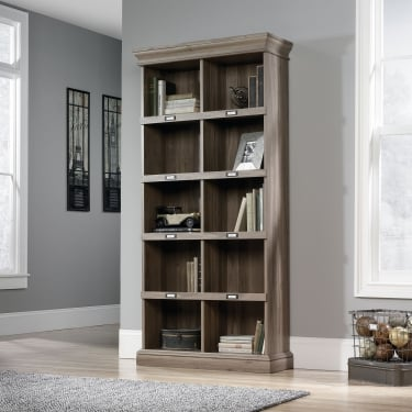 Callista Tall Bookcase, Salt Oak Effect