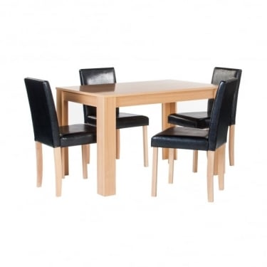 Cambridge Black Faux Leather & Oak Dining Set